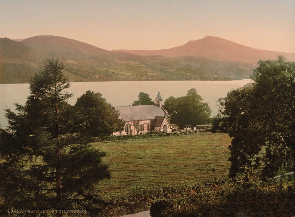 Photochrom of Llanyeil Church in Bala